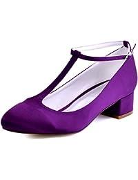 ElegantPark Mujer Cerrado Toe Chunky Tacón T-Correa Bombas Satén Zapatos de vestir de noche