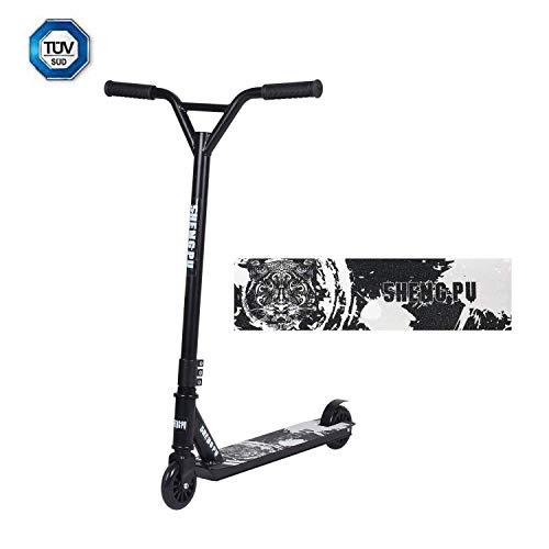 Clothink Stunt Scooter 360° Lenkung Sports Tretroller Roller mit 100mm PU Wheels Kickscooter für Kinder Erwachsene Schwarz