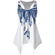 BaZhaHei Chaleco de Mujer Confort y Transpirable Camisetas Moda para Mujer Panel de Encaje Informal asimétrico