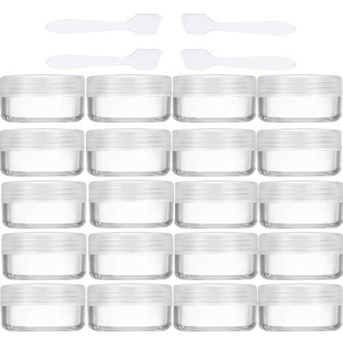 20 Pezzi Barattolo di Plastica Vuoti Contenitore Cosmetico - Per Vasetto Cosmetici, Barattoli Creme, Vasetto Labbra, Contenitore Unghie - Con 4 Pezzi Mini Spatola (10g / 10ml)