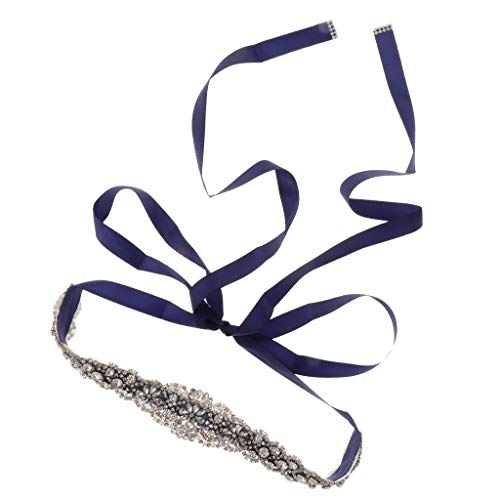 Flameer accessori per abiti da sposa in rilievo con strass di cristallo - blu scuro, 270 x 2 cm