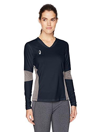 ASICS Damen Köder Long Sleeve Jersey, Damen, BT3279, Navy/Heather Grey, S