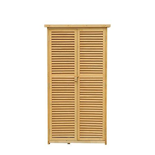 Cobertizo de Madera con Almacenaje para Herramientas de Jardinería y Persiana Delantera 87x46,5x160cm (Madera)
