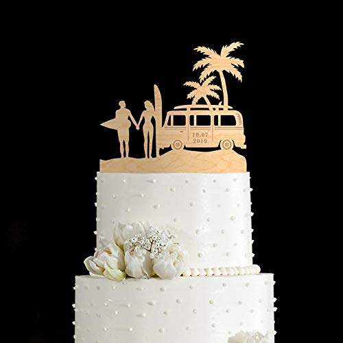 Tortenaufsatz VW Bus Surf Hochzeit Tropische Hochzeit Kuchen Topper, Surfen Hochzeit Kuchen Topper, Ocean Wedding Cake Topper, Hawaii Hochzeit Topper, 194 (Topper Wedding Gold Cake)