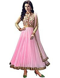 Rensila Women's Light Pink & Beige Color Banglori Silk & Net Fabric Anarkali Salwar Suit