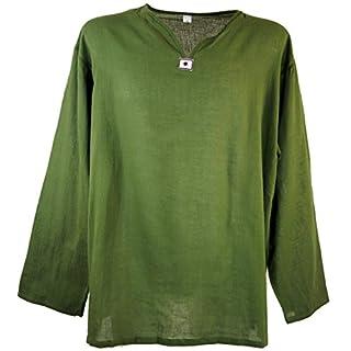 Guru-Shop Yoga Hemd, Goa Hemd, Herren, Grün, Baumwolle, Size:L, Männerhemden Alternative Bekleidung