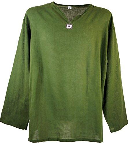 Guru-Shop Yoga Hemd, Goa Hemd, Herren, Grün, Baumwolle, Size:M, Männerhemden Alternative Bekleidung