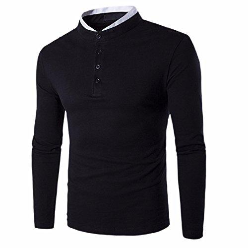 QIYUN.Z Männer Nehmen Passende Lange Hülsenstandfarbt-Shirts Knopf Schwarz