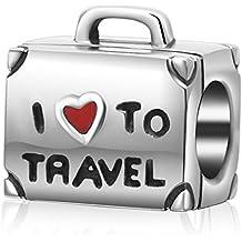 «I love to travel» abalorio en forma de maleta con corazón rojo para pulsera, 100% plata de ley 925.