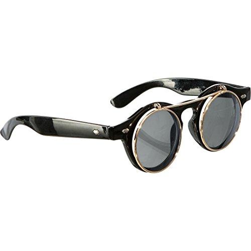 Gothic Klappbrille Viktorianische Faschingsbrille Runde Halloween Sonnenbrille Steampunk Brille Karnevalskostüme Accessoires Vampir Rundbrille Aufklappbare Spaßbrille