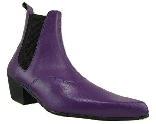 Unbekannt Retro of London Hand Made Herren Beatle Beat Stiefel Chelsea Violett Leder Spitz Zulaufender Zehenbereich Cuban Heel, Violett - violett - Größe: 39 1/3 EU -