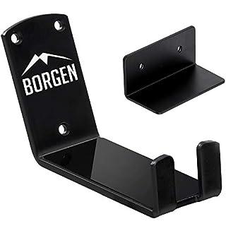 Borgen ® Fahrrad Wandhalterung Pedalaufhängung E-Bikes, MTB, Rennrad Wandhalter mit Stützwinkel und Wandschutzpads (1 Stützwinkel)