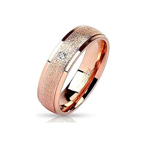 Bungsa® 60 (19.1) Rose Bague en or avec pierre zircon optique de sable de cristal étroites Engagement en acier inoxydable pour les hommes et les femmes (anneaux partenaires de bague de doigt d