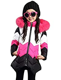 5205e9a646925d Kids Girls Boys Winter Hooded Coat Padded Warm Faux Fur Trim Hoodie Puffer  Down Jack Outwear