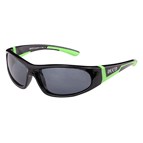 DUCO Kinder Sonnenbrille Polarisierte Sportbrille für Jungen und Mädchen (Schwarz001 Für Alter 3-10)
