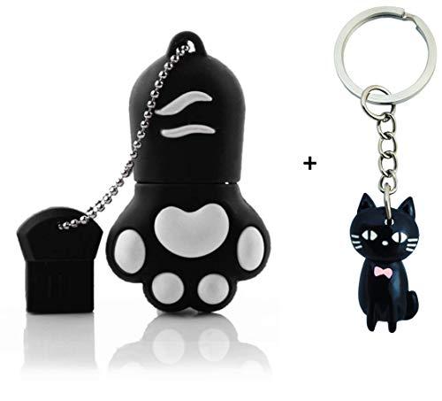 Lynneo® - Chiavetta USB 2.0 a forma di zampa di gatto, 16 GB, con portachiavi in omaggio. Ideale come regalo fantasia, divertente e originale. Chiavetta USB a forma di animale