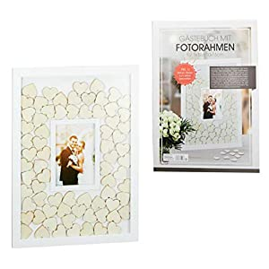 Gästebuch Hochzeit Bilderrahmen mit Holzherzen