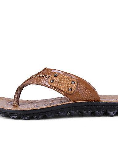 NTX/Herren Schuhe Outdoor/Casual Leder Flip Flops, Braun/Gelb yellow-us11 / eu44 / uk10 / cn46