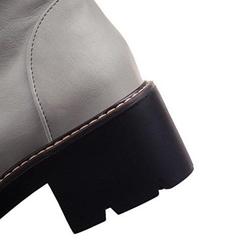 VogueZone009 Damen Mittler Absatz Hoch-Spitze Rein Reißverschluss Stiefel mit Schnalle Grau