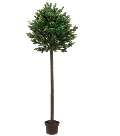 4' Potted Short Needle Balsam Pine Artificial Christmas Topiary Tree - Unlit by Allstate