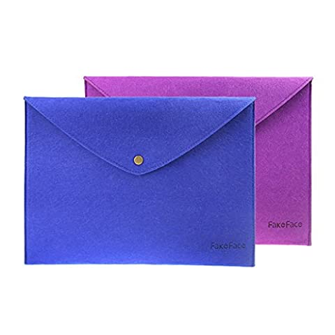 LY® Neu Dokumententasche Dokumentenmappe Akentaschen Sichttasche mit Druckknopf 2 Stück DIN A4 Filz Lila + Blau