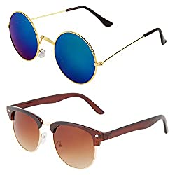 Zyaden Combo of Round and Clubmaster Sunglasses (Combo-146)