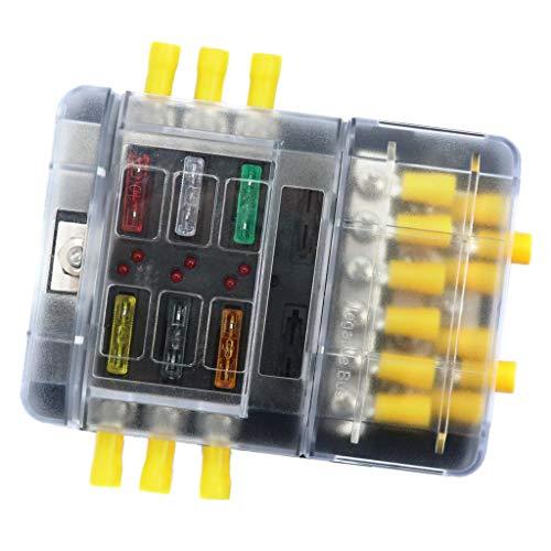 Almencla Blade Fuse Block Box Holder 6 Wege Sammelschiene Negativ Mit LED Anzeige Marine 30a Fuse Block Holder