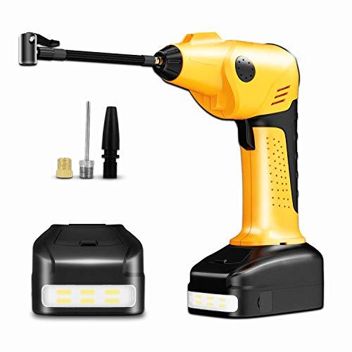 Portable Auto-Luftpumpe, Elektrischer Kompressor Digital 2000mAh 12V DC LCD Bildschirm Digital LED Licht mit Akku 200PSI