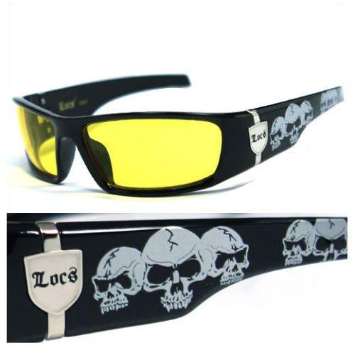 Locs Dunkle Objektiv Gangster Og Sonnenbrillen Biker Schädel-Muster auf den Armen (Schwarz, Gelb) Gelb Einheitsgröße Schwarz