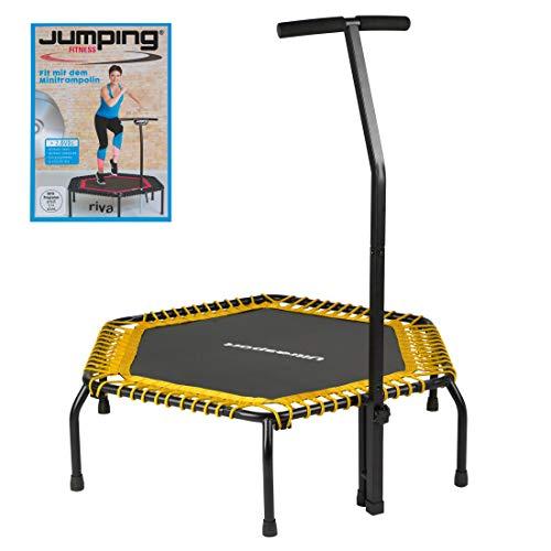 Ultrasport Fitness Trampolin, stabiler Haltegriff und Gummiseilfederung für höchste Sicherheit im Sprung; Ideales Indoor Sport-Gerät für zuhause, Jumping Fitness in: Gelb (soft) mit DVD