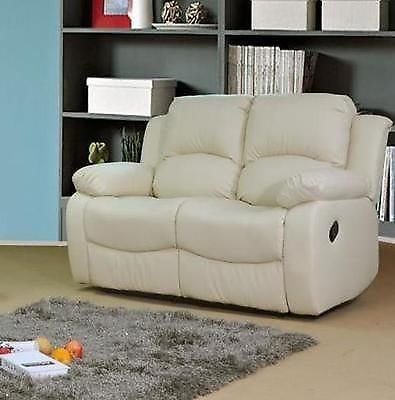 Valencia cream recliner leather sofa suite 3 2 seater for Outlet sofas valencia