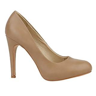 Stiefelparadies Elegante Damen Pumps High Heels Businessschuhe Leder-Optik 150574 Khaki Autol 37 Flandell