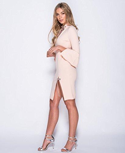 Damen Flare Ärmel Kette Detail Bodycon Kleid EUR Größe 36-42 Nackt