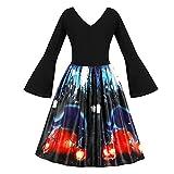 Efanhony Damen Lange äRmel Jahrgang Abendkleider Halloween Kleid Mode Abschlussball-KostüM Swing-Kleid Vintage Abend Party Swing Cocktailkleid Eleganten Rock