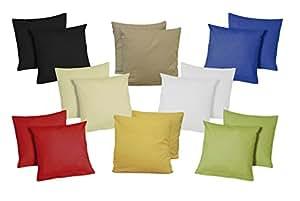 Fodera per cuscino, 40 x 40 cm, set di 2  fodere in microfibra, Cotone, Rot, 40 x 40 cm