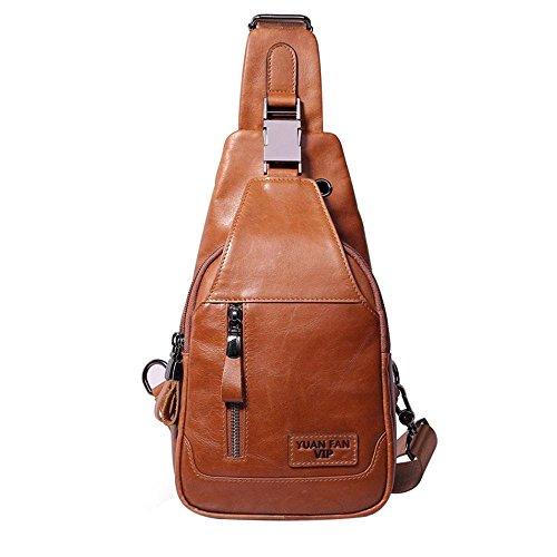 Pawaca - Bolso de hombro para hombre, de piel auténtica, bolso bandolera, mochila para hombre, para ocio casual, al aire libre, viajes, senderismo, trabajo, escuela, negocios, ciclismo, marrón claro