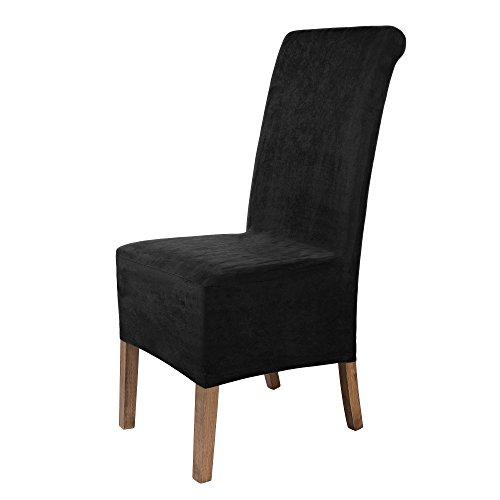 Stuhlhussen 2 Stück, Stretch-Hussen Stuhl-Bezug bi-elastische Schutz-Husse, Abdeckung mit Gummiband, Sitzhöhe bis 22-25 cm - Schwarz ()