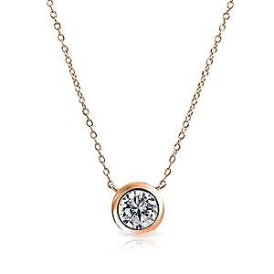 Bling Jewelry Argent 925 plaqué Or Rose Collier Chaîne Rolo ronde Solitaire CZ 16 DANS