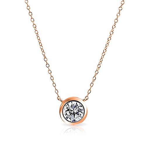 Bling Jewelry pendentif CZ Clair Collier plaqué or rose 16 pouces