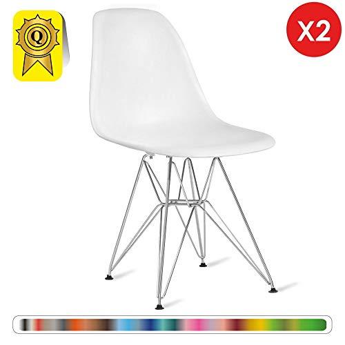 Decopresto 2 x Chaise Design Inspiration Eiffel Blanc Pieds Acier INOX Chrome DP-DSR-WH-2P
