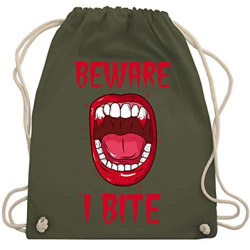 Halloween - Beware - i bite - Unisize - Olivgrün - WM110 - Turnbeutel & Gym Bag