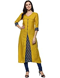 Aahwan Yellow Mustered Solid & Printed Rayon A-line Long Kurtis for Women (AC-1012)