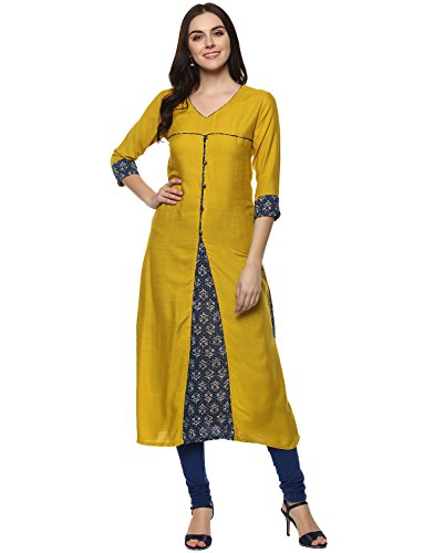 Aahwan Yellow Mustered Solid with Printed Rayon Long A-line Kurtis for Women...