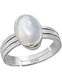 Clara Moonstone 9.3cts or 10.25ratti Stone 92.5 Sterling Silver Adjustable Ring for Men