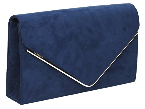 Oscar lussuoso Oro Trim busta scamosciata velluto partito da sposa pochette borsetta–SwankySwans Navy Blue