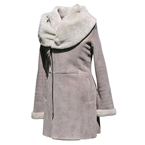 Lammfelljacke - IRMA Damen Jacke Felljacke Winterjacke Lederjacke Merino Fell Size L, Color Beige