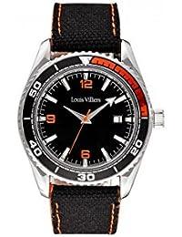 Reloj hombre Louis Villiers reloj 43 mm acero negro y brazalete negro de piel lv1043