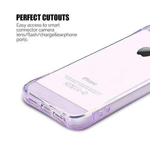 Coque iPhone 5 / 5S / SE (4.0 pouce) , TPU Transparente Case Silicone Slim Souple Étui de Protection Flexible Soft Cover Anti Choc Ultra Mince Couverture Bumper Anfire Housse pour iPhone 5 - limpidité Violet