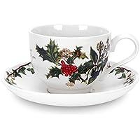 La Holly & Ivy tazza e piattino, ceramica, multicolore,