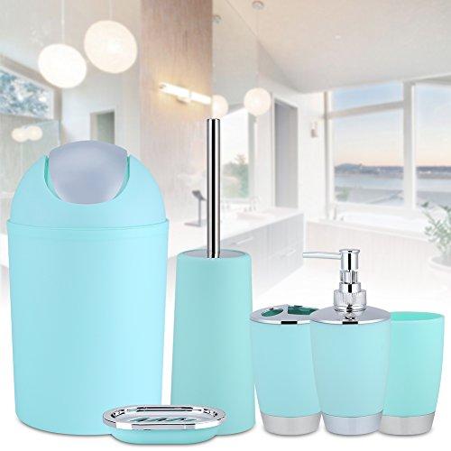 TENNESKY 6pcs Accesorios para Cuarto de baño Conjunto dispensador de jabón Cepillo WC Soporte para Cepillo de Dientes